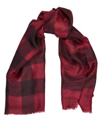 wine check pure silk scarf