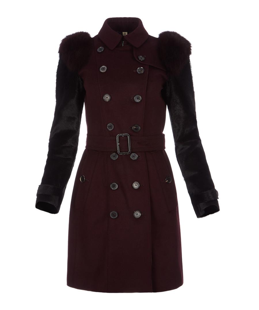 Women's black amethyst wool blend coat Sale - burberry