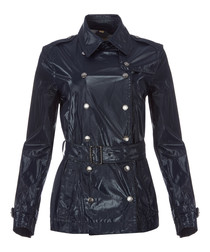 Women's navy belted jacket