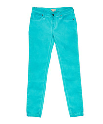Women's bright jade green cotton jeans