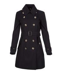 Women's navy cotton belted coat