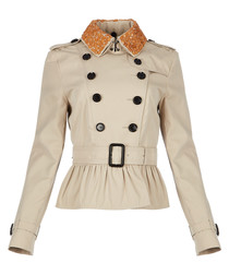 Women's trench cotton belted jacket