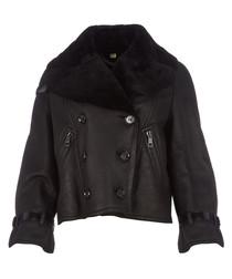 Women's black shearling jacket