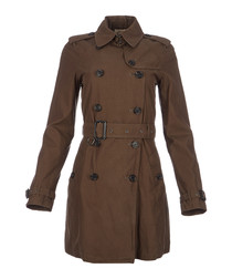 Women's olive pure cotton coat
