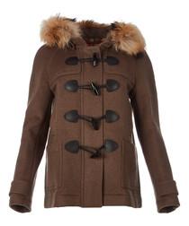 Women's peat pure wool toggle coat