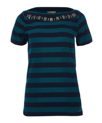 teal & navy pure cotton T-shirt