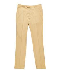 Men's beige pure cotton trousers