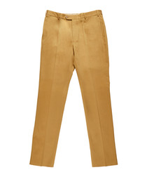 Men's khaki pure cotton trousers