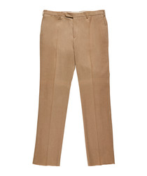 Men's dark beige pure cotton trousers