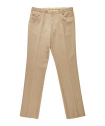 Men's beige pure wool trousers