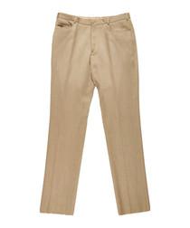 Men's dark beige pure wool trousers