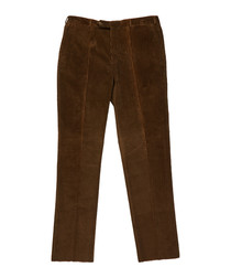 Men's brown pure cotton trousers