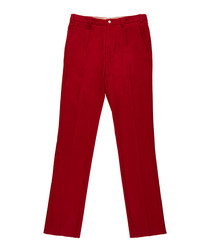 Men's red pure cotton trousers