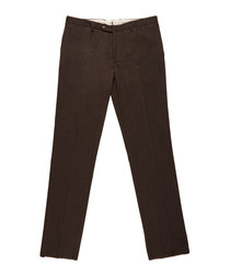Men's brown wool & cotton trousers
