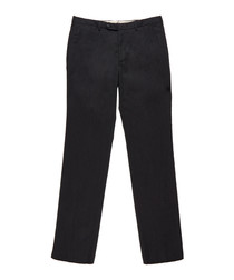 Men's charcoal wool & cotton trousers