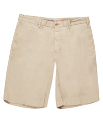 Men's beige pure cotton shorts