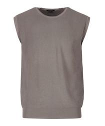 grey merino wool sleeveless jumper