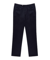 Men's navy pure cotton trousers
