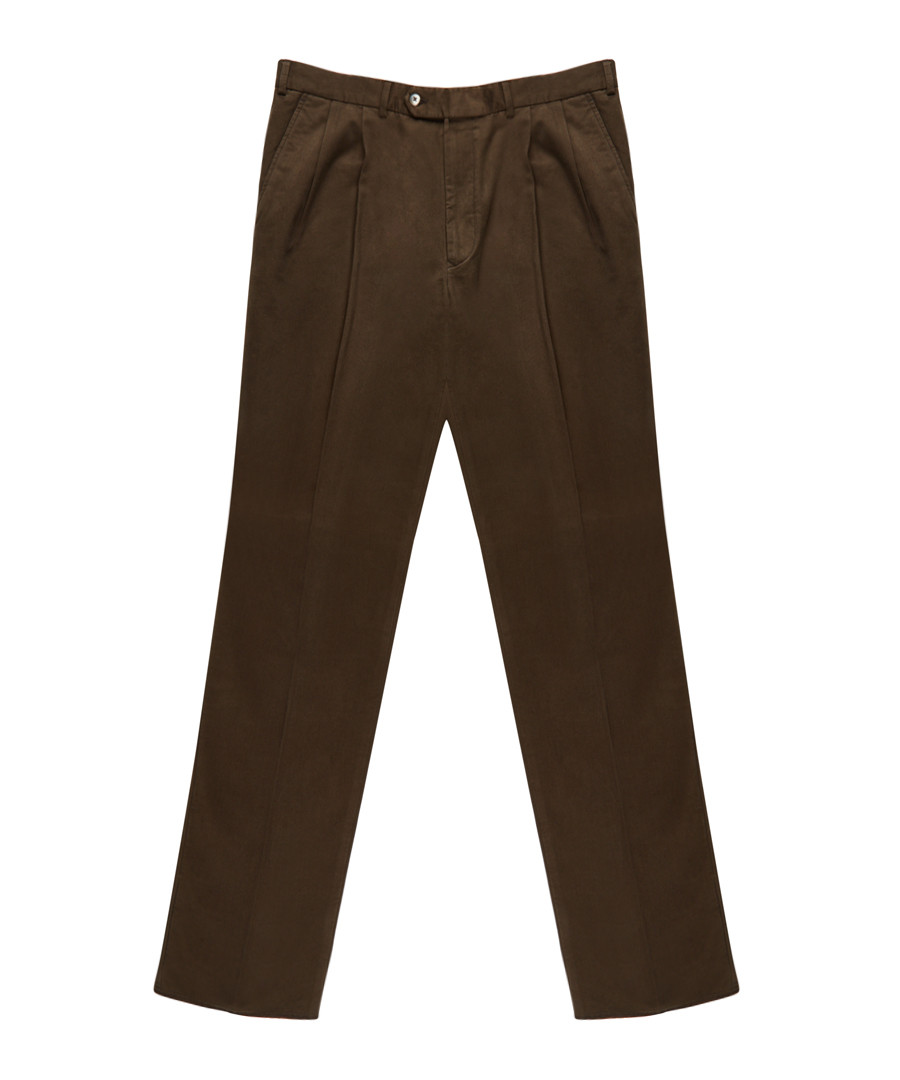 Men's brown pure cotton trousers Sale - burberry