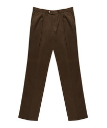 Men's brown pure cotton trousers