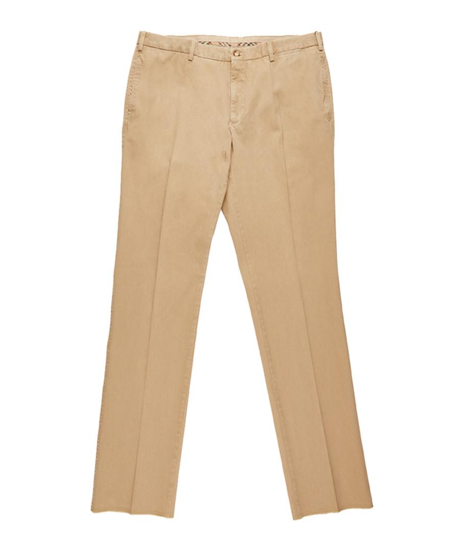 Men's beige pure cotton trousers Sale - burberry