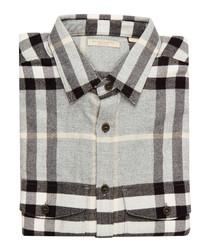 Men's pale grey check pure cotton shirt