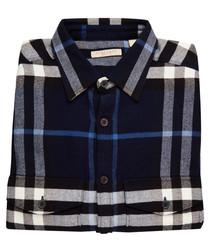 Men's navy pure cotton check shirt