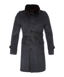 Men's airforce blue wool blend coat