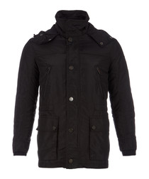 Men's black high-neck coat