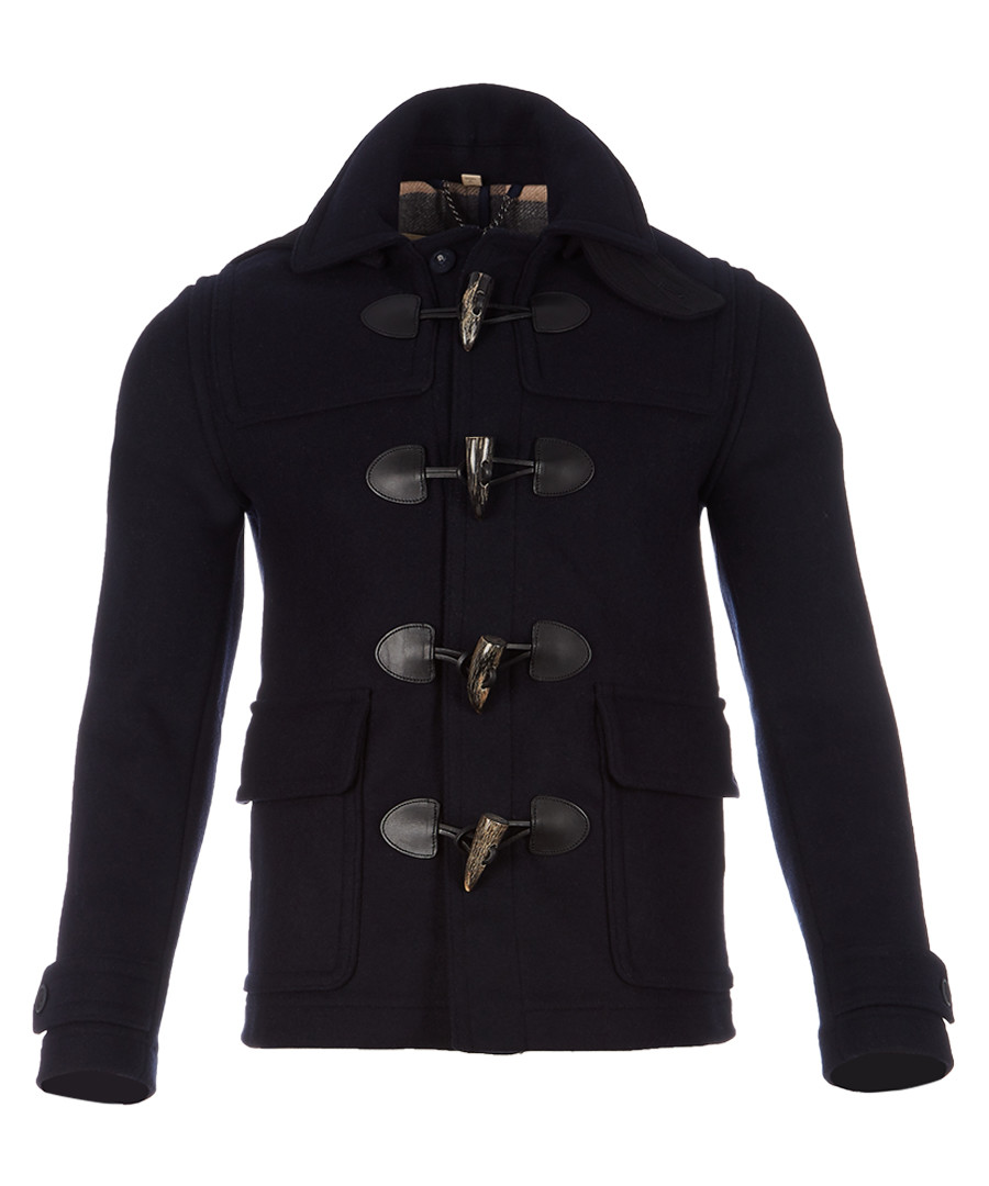 Men's navy wool blend toggle coat Sale - burberry