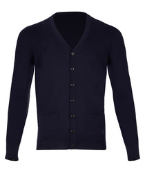 men's navy pure cashmere cardigan