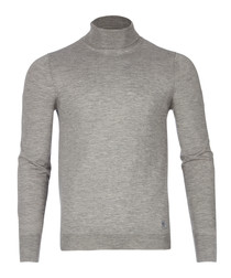 men's grey cashmere high neck jumper