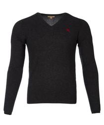 men's charcoal pure cashmere jumper