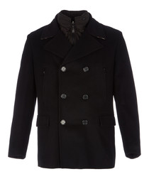 Men's black merino wool coat