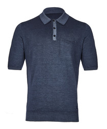 men's blue pure merino polo shirt