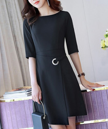 Black wrap front mini dress