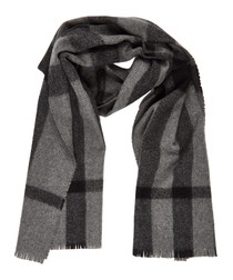 grey check pure wool scarf