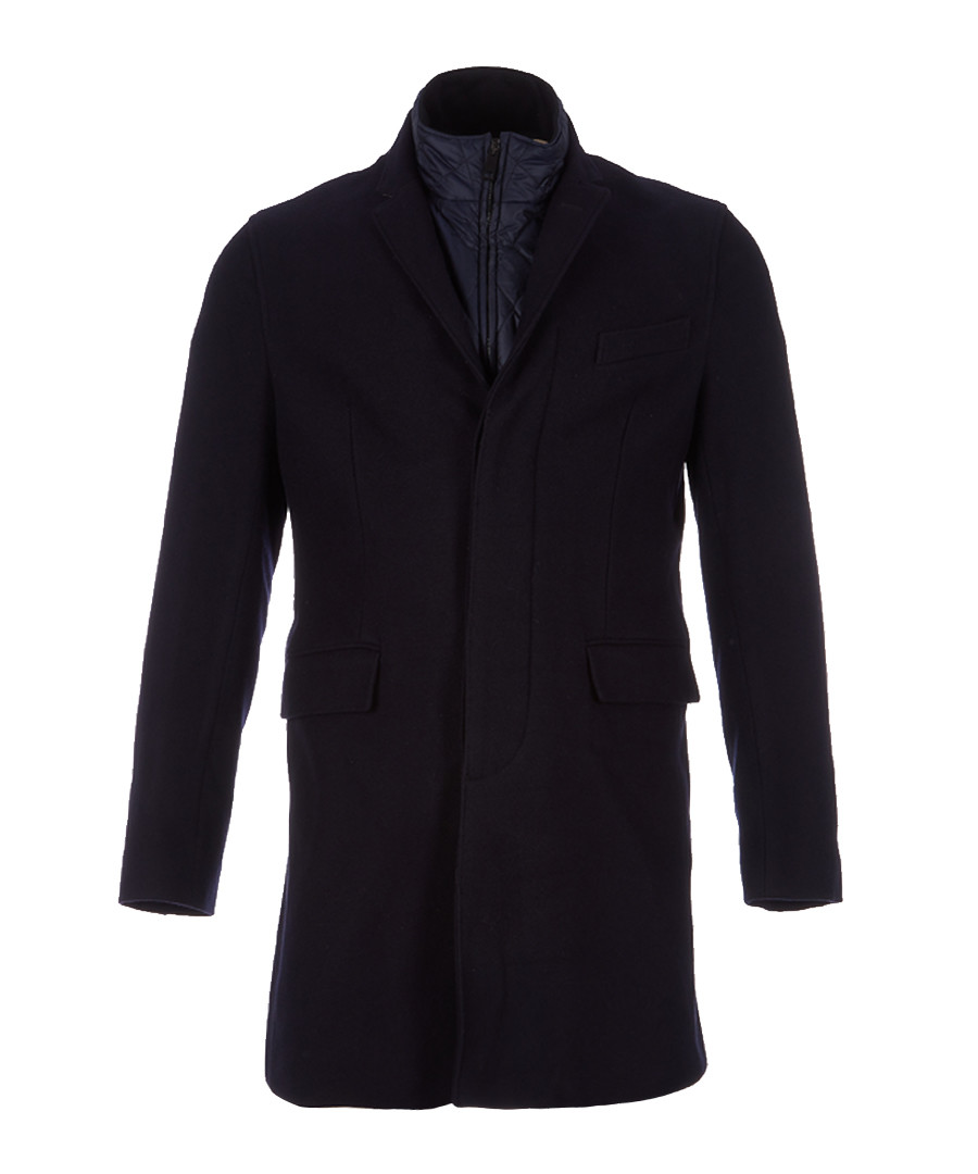 Men's navy wool blend coat Sale - burberry