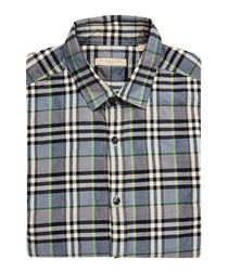 Men's grey check pure cotton shirt