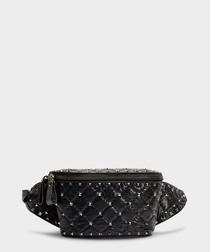 Rockstud Spike black lambskin waist bag
