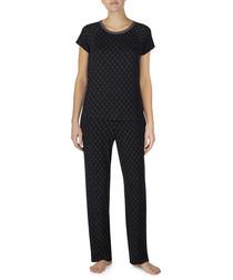 Black print pyjama T-shirt