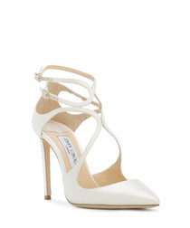 lancer white satin court heels