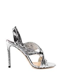 lalia metallic leather wrap heels