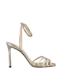 mima silver-tone leather sandal heels