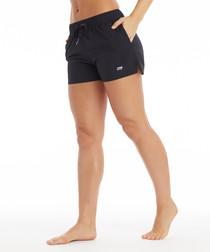 shay black woven shorts