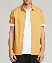 Yellow cotton blend short sleeve shirt