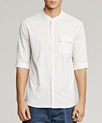White cotton blend collarless shirt