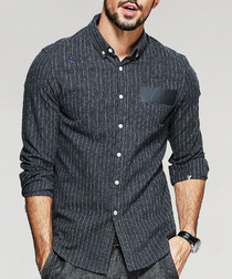 Charcoal cotton blend long sleeve shirt