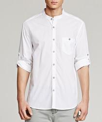 White pure cotton collarless shirt