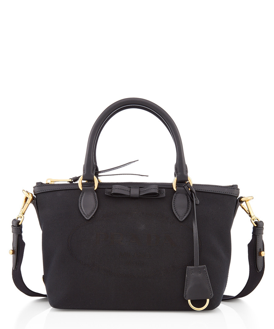 Black logo Jacquard canvas bag Sale - Prada